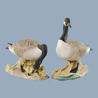 Vintage Pair of Boehm Canada Geese Hand Painted Porcelain Figurines