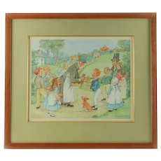 Vintage Patience Arnold Original Watercolor Muffin Man at the Village Fair