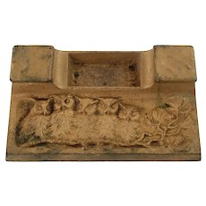 Antique Owl Motif Gilded Cast Iron Dual Sided Inkstand