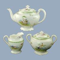 Antique George Jones & Sons Crescent China Three Piece Tea Set Exotic Birds Motif