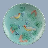 Vintage Georg Schmider Zell Majolica Bird and Grape Footed Centerpiece Compote