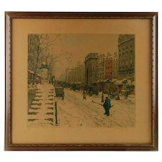 Antique Tavik František Šimon Soft Ground Etching and Aquatint: 'Boulevard Saint-Martin in Winter' Paris 1914