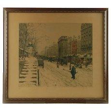 Antique Tavik František Šimon Soft Ground Etching and Aquatint: Boulevard Saint-Martin in Winter Paris 1914