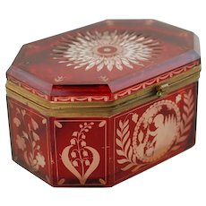 Antique Bohemian Ruby Red Cut to Clear Etched Glass Lidded Casket Dresser Box