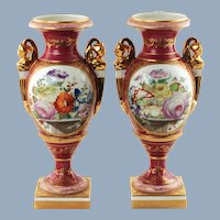 Antique Matched Pair of Old Paris Porcelain Hand Painted Bolted Vases/Urns with Figural Handles