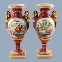 Antique Matched Pair of Old Paris Porcelain Hand Painted Bolted Vases Urns with Figural Handles
