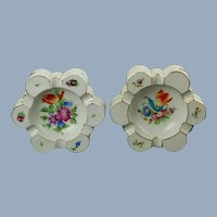 Vintage Pair of Herend Hand Painted Printemps Bouquet de Tulipe Lobed Trinket Dish Ash Receivers