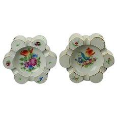 Vintage Pair of Herend Hand Painted Printemps Bouquet de Tulipe Lobed Trinket Dish Ash Receivers