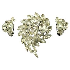 Vintage Alice Caviness Demi Parure Clear Rhinestone Brooch and Earrings