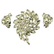 Vintage Alice Caviness Demi Parure Clear Rhinestone Brooch and Earrings with Original Tag