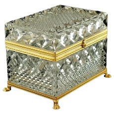 Vintage French Cut Crystal Lidded Box with Gilt Bronze Mounts and Figural Lions Paw Feet