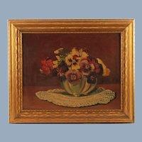 Vintage Floral Still Life Pansies Original Oil Painting Max Herzog Circa 1937