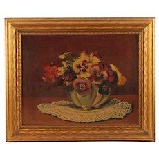 Vintage Floral Still Life Oil Painting Max Herzog