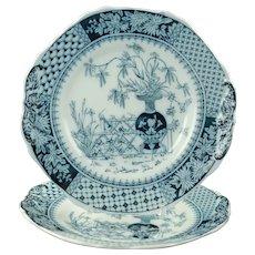 Antique Copeland Kew Blue Transferware Dinner Plates