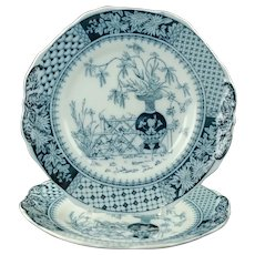Antique Copeland Kew Pattern Blue Transferware Dinner Plates - Set of 2