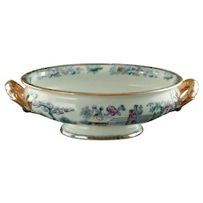 Antique 19th Century Ashworth Polychrome Transferware Chinese Pattern Handled Footed Bowl