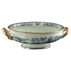 Antique Ashworth Polychrome Transferware Chinese Pattern Handled Footed Bowl with Lustre Detailing