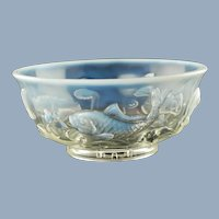 "Vintage Ted Mehrer ""Round Fish Bowl"" French Opalescent Art Glass Console Centerpiece Bowl"