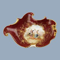 Antique Rudolstadt Hand Painted Rococo Style Porcelain Dish Artist Signed by Richter Courting Couple