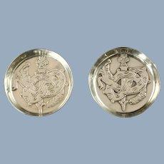 Vintage William Spratling Sterling Silver Coaster Pin Dishes with Quetzalcoatl Plumed Serpent Motif