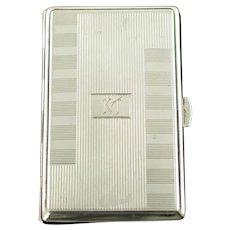 Vintage Wilhelm Müller German Silver Cigarette Case with Interior Vermeil Wash