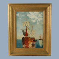 Antique Nautical Oil Painting after Paul Jean Clays Sailing Ships in Gilt Wood Frame