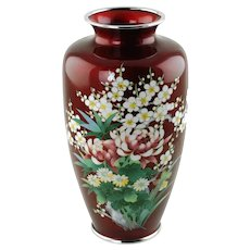 Vintage Japanese Ando Cloisonné Enamel and Embossed Foil (Ginbari) Vase