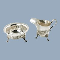 Vintage Irish Sterling Silver Hopkins & Hopkins Footed Cream and Sugar with Celtic Knot Motif and Lion Mask Feet