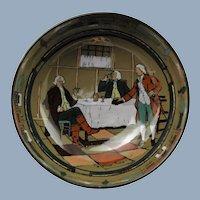 "Vintage Buffalo Pottery Deldare Ware Ye Village Tavern 9"" Hand Painted Bowl"