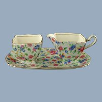 "Vintage Royal Winton ""Old Cottage Chintz"" Ascot Cream and Sugar with Tray - 3 Piece Set"