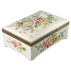 Antique Edmé Samson et Cie 'Veuve Perrin' Hand Painted Faience Floral Dresser Box