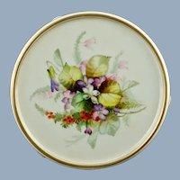 Antique Royal Worcester Hand Painted and Enameled Footed Trivet Tea Tile