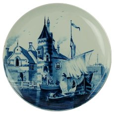 """Antique Villeroy & Boch Mettlach Hand Painted Delft 12"""" Charger"""