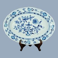 "Antique Meissen German Porcelain Blue Onion 19"" Platter"