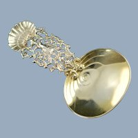 Antique Gorham Sterling Silver Tea Caddy Spoon with Reticulated Shell Motif Handle