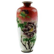 Antique Japanese Meiji Period Ginbari Cloisonne Enamel Vase - Signed by Ota Toshiro