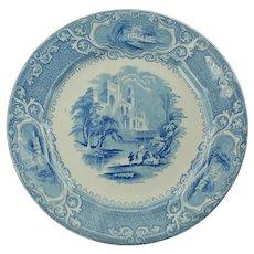 Antique Victorian E Challinor Blue Transferware Dinner Plate Priory Pattern