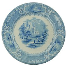 "Antique E Challinor Priory Blue Transferware 10"" Dinner Plate"