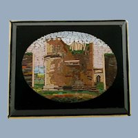 Vintage Italian Architectural Micro Mosaic Brooch - Tomb of Caecilia Metella
