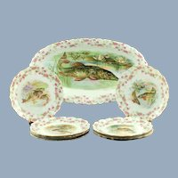 Antique Bawo & Dotter Imperial Crown China Austria Porcelain Fish Service Set