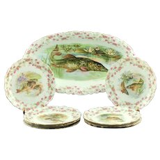 Antique Bawo & Dotter Imperial Crown China Austria Porcelain Fish Service Oval Platter and Set of 8 Plates