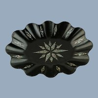 Antique English Ebonized Paper Mache Oval Tray with Inlaid Mother of Pearl