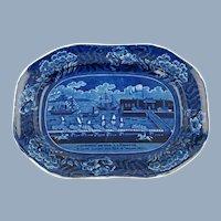 Antique 19th Century Clews Landing of Gen La Fayette at Castle Garden New York 16 August 1824 Dark Blue Historical Staffordshire Platter