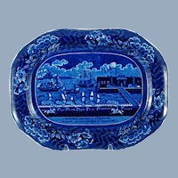 Antique Clews Landing of General LaFayette Dark Blue Historical Staffordshire Platter