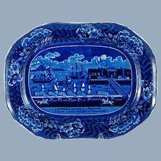 Antique Clews Landing of General LaFayette Dark Blue Historical Staffordshire Platter