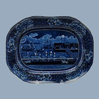 Antique 19th Century Clews Landing of Gen La Fayette at Castle Garden New York 16 August 1824 Dark Blue Historical Staffordshire Platter