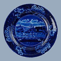 "Antique Historical Staffordshire Clews Plate ""Landing of Gen. La Fayette at Castle Garden New York 16 August 1824"""
