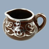 Antique Guernsey Cooking Ware Cambridge Art Pottery Creamer with Silver Overlay