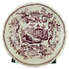 Antique Jackson's Warranted Indian Pagoda Purple Staffordshire Plate