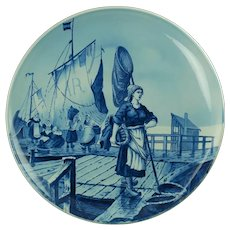 Antique Villeroy & Boch Mettlach Hand Painted Delft Style Charger Dockside Scene
